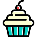 Dessert, cupcake, muffin, food, sweet, Bakery, baked Black icon
