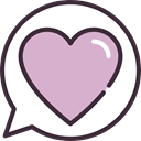 speech bubble, Heart, Conversation, romantic, love, Chat Thistle icon