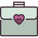 Heart, travelling, Briefcase, Business, luggage, baggage Silver icon