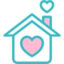 buildings, real estate, romantic, Heart, Home, residence, house, love Black icon