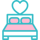 romantic, love, bedroom, furniture, Heart, double bed MediumTurquoise icon