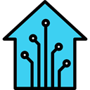Smart Home, Technological, house, buildings, real estate Turquoise icon
