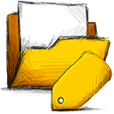 tag, Folder Gold icon