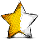 star, Left, half Black icon