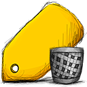 Trash, tag Gold icon