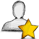 user, Starred Black icon