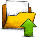 upload, Folder Gold icon