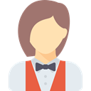 waiter, job, Restaurant, people, woman, Avatar, Occupation, profession Gray icon
