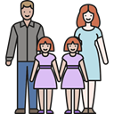 people, Daughters, love, twins, mother, Parents, Family, father Black icon