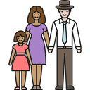 Stepfather, mother, daughter, Family, love, people Black icon