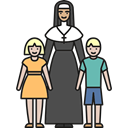 children, religious, Orphans, nun, love, people Black icon