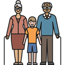 love, Elderly, people, Family, Boy, Grandparents, Grandson Black icon