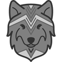 wolf, tribal, wildlife, mammal, head, Indigenous, Animals Gray icon