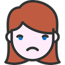 people, sad, emoticons, faces, feelings, Heads, Girl IndianRed icon