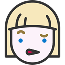 Girl, faces, Incomprehension, emoticons, Heads, feelings, people LavenderBlush icon