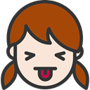 Heads, emoticons, Girl, people, tongue, faces, feelings SaddleBrown icon