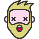 Heads, wonder, Facial Hair, hipster, feelings, people, faces, emoticons, Beard DarkSlateGray icon