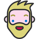 hipster, Facial Hair, feelings, Beard, emoticons, smile, Heads, people, faces DarkSlateGray icon