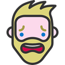 faces, people, hipster, Frightened, Beard, Facial Hair, emoticons, Heads, feelings DarkSlateGray icon