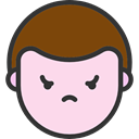 Angry, emoticons, Heads, faces, feelings, people, Boy MistyRose icon