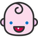 baby, Heads, smile, feelings, people, faces, emoticons, happy MistyRose icon