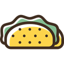 Fast food, Lunch, Mexican, Taco, food, snack Black icon