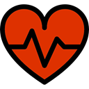 medical, pulse, Electrocardiogram, Heart, Cardiogram, heart rate OrangeRed icon