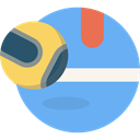 Sportive, Ball, racket, tennis, sports CornflowerBlue icon