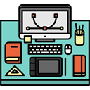 office, utensils, profession, Workspace, desk, graphic designer, Computer MediumAquamarine icon
