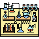 profession, Chemist, laboratory, Workspace, utensils, office, desk PaleGoldenrod icon