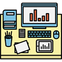 profession, Workspace, desk, manager, office, utensils PaleGoldenrod icon