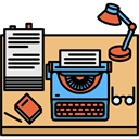 profession, Workspace, utensils, writer, office, desk BurlyWood icon