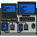 Computers, Workspace, Programming, desk, profession, office DarkGray icon