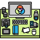 desk, utensils, Workspace, reflex, profession, photo camera, Photographer, office Khaki icon