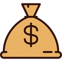 commerce, Bank, money bag, western, Dollar Symbol, Bag, Money SandyBrown icon