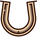 Good Luck, Ornamental, horse, western, Horseshoe Black icon