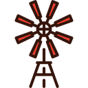 buildings, Energy, western, Ecologic, Eolical, Windmill Black icon