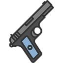 pistol, Arm, Gun, Crime, weapons Black icon