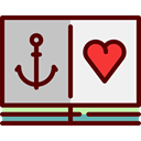 Anchor, hipster, Artistic, studio, Heart, Art, tattoo Maroon icon