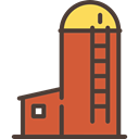 real estate, buildings, Farm, Barn, Silo Chocolate icon