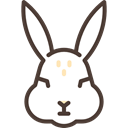 Animal, Bunny, head, Frontal View, Face, Animals, rabbit Black icon