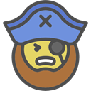people, pirate, user, Beard, Facial Hair, Man, Avatar, Captain DarkSlateGray icon