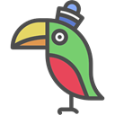 Animal, Animals, pet, wings, parrot, pirate Black icon