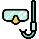 Summertime, goggle, Snorkel, sports, Dive, sea, Diving Black icon