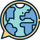 Earth Globe, Language, Speech Balloon, education, speech bubble MidnightBlue icon