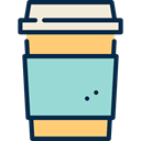 coffee cup, Coffee Shop, Coffee, hot drink, Paper Cup, food, Take Away LightBlue icon