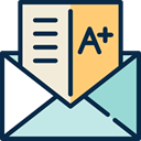 Grades, envelope, mark, exam, interface, education MidnightBlue icon