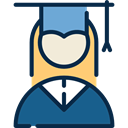mortarboard, people, Girl, Cap, education, woman, Graduate MidnightBlue icon