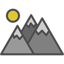 mountains, flag, Altitude, mountain, landscape, Snow, nature Black icon