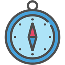 Direction, Cardinal Points, Tools And Utensils, location, compass, Orientation PaleTurquoise icon